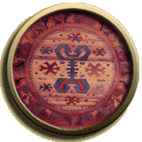 round oriental rug in a traditional tribal weave style